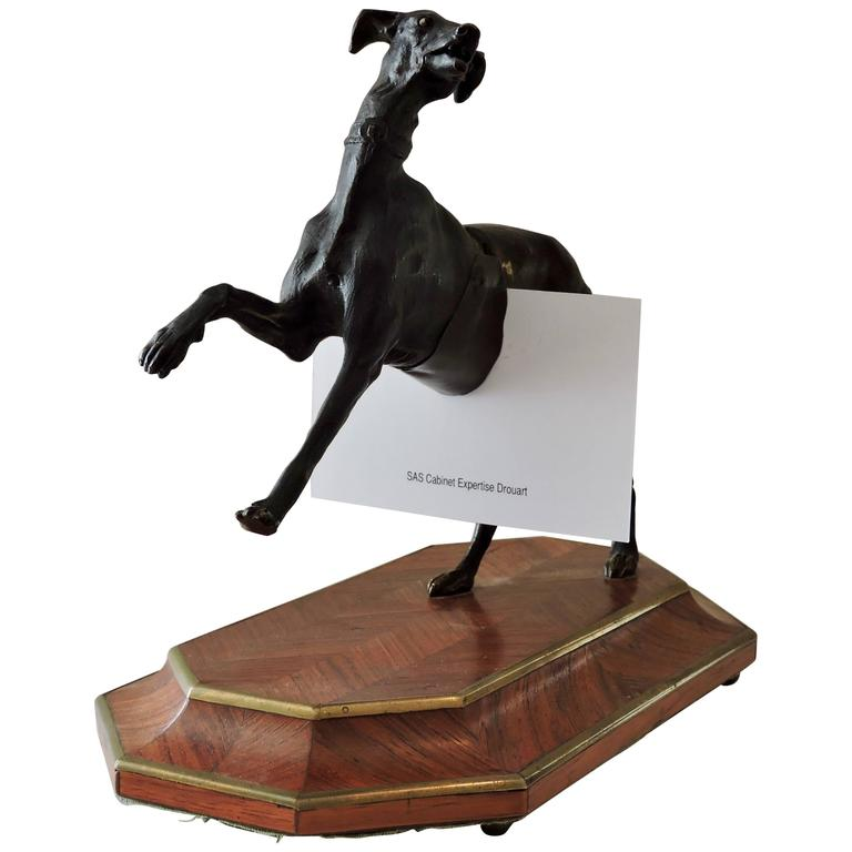 19th Century Bronze and Rosewood Marquetry Greyhound Cardholder
