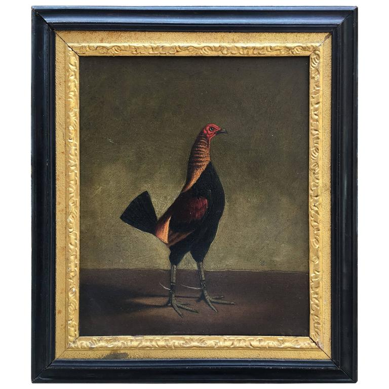 Small Oil Painting of a Fighting Cock by Hilton Pratt