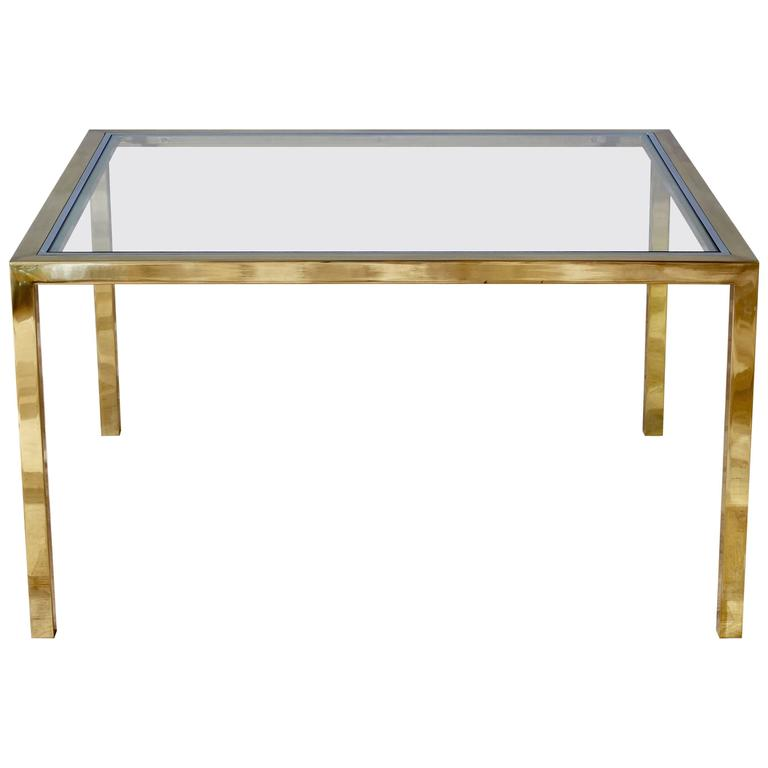 Large Gold and Silver Mid-Century Coffee Table attributed to Maison Jansen