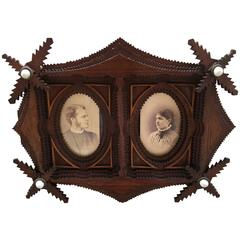 Tramp Art Small Portrait Frame
