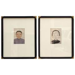 Pair of Small Portraits of Chinese Figures on Rice Paper