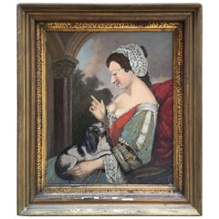 Oil on Canvas of Lady with King Charles Cavalier Spaniel on Lap