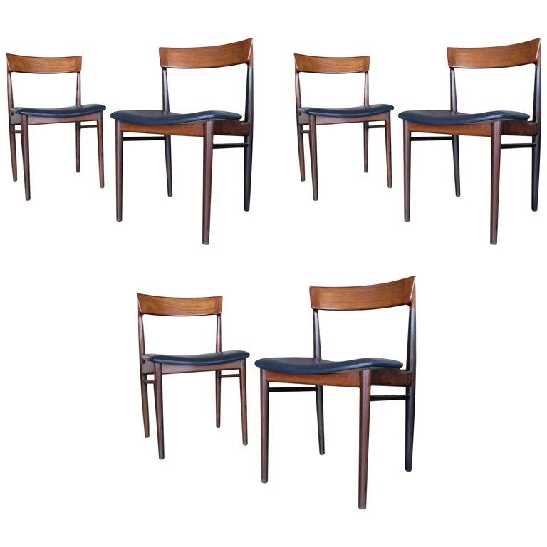 "Henry Rosengren Hansen,  Scandinavian Set of Six ""Model 39"" Dining Chairs, 1960s For Sale"