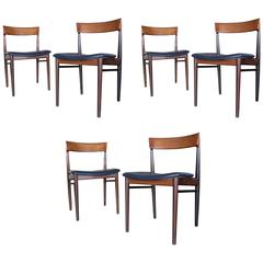 "Henry Rosengren Hansen,  Scandinavian Set of Six ""Model 39"" Dining Chairs, 1960s"