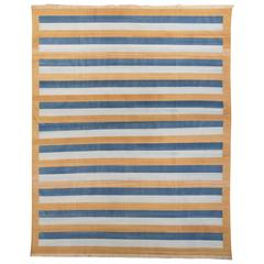 Late 20th Century Gold Blue Striped Dhurrie