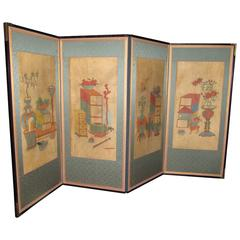 Antique Korean Four-Panel Folding Painted Screen