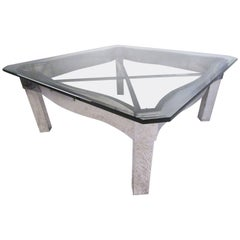 Contemporary Modern Chrome and Glass Coffee Table
