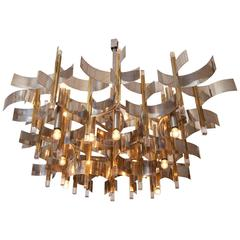 Large Gaetano Sciolari, brass, chrome and lucite 18 light Chandelier, circa 1970