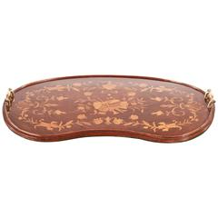 Fine Edwardian Inlaid Kidney Shaped Tray