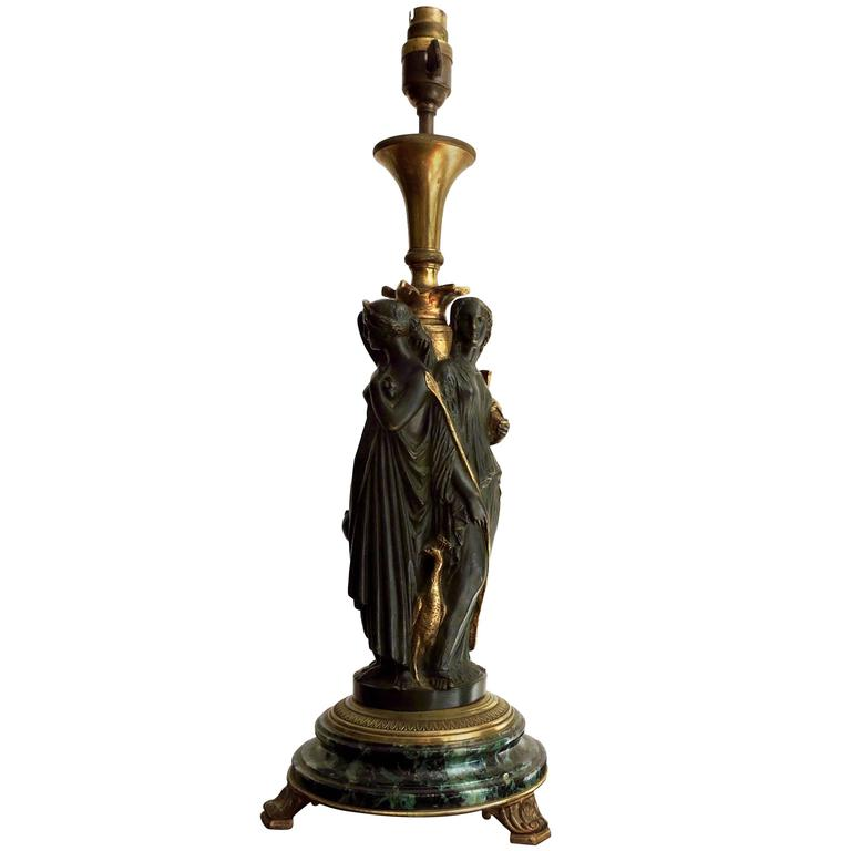 Patinated Bronze And Ormolu Lamp Three Graces Designed On