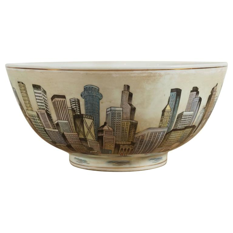 Cityscape Full Surround Porcelain Bowl For Sale