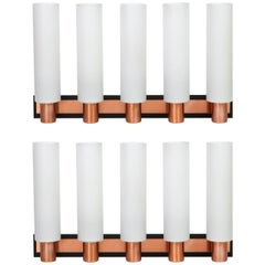 Pair of Rare Stunning Copper and Glass Wall Sconce by Kaiser, Germany, 1960s