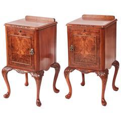 Fine Pair of Burr Walnut Bedside Cabinets
