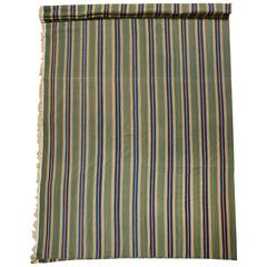 Mid-20th Century Green Striped Dhurrie