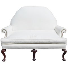 English Mahogany Camel Back Settee Upholstered in White Muslin, Circa 1820