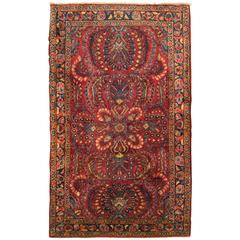 Antique Persian Sarouk Oriental Rug in Small Size with Red Field & Floral Design