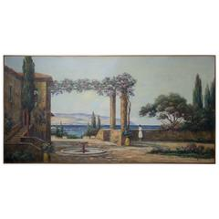 Painting of a House Terrace at Mediteranean Seaside by Gaston Aubert