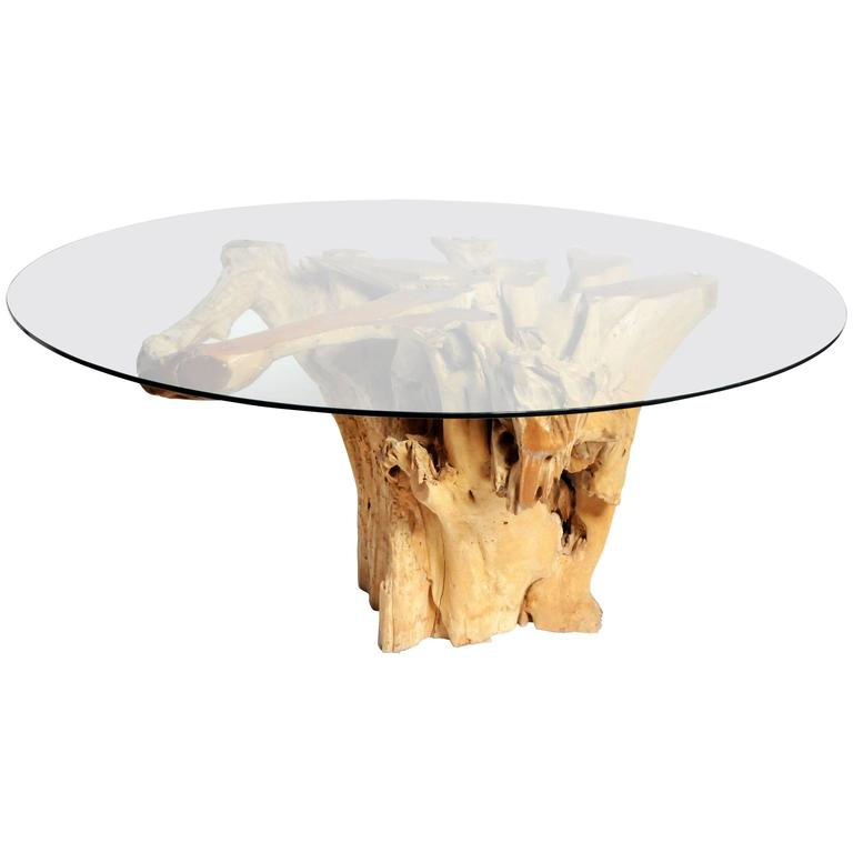 Teak Root Pedestal Table with Glass Top