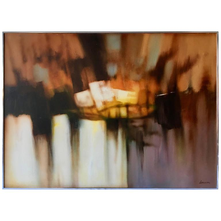 Mid-Century Modern Abstract Oil-on-Canvas Painting by Robert Lawson 1