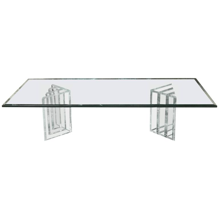 Beautiful Lucite Italian Coffee Table Base with Thick Glass Top For