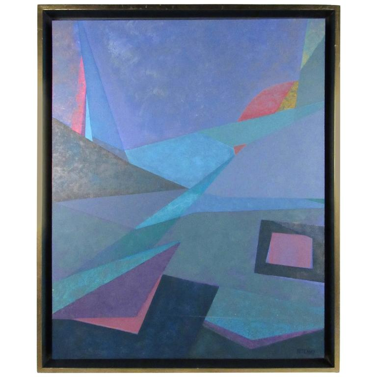 Vintage Modern Abstract Geometric Painting by Betensky