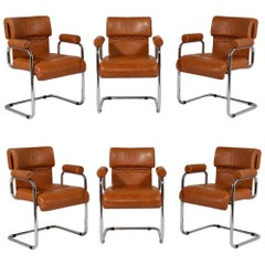 Set of 6 Italian i4 Mariani Original Leather Dining Chairs