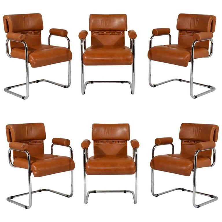 Set of six italian mariani original leather dining chairs for Italian leather chairs dining