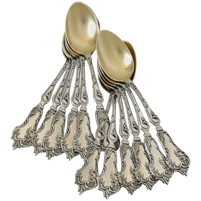 Soufflot Fabulous French All Sterling Silver 18-Karat Gold Tea Coffee Spoons Set