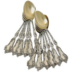 Soufflot Fabulous French All Sterling Silver 18-Karat Gold Tea Coffee Spoons Set
