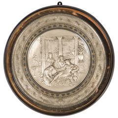 19th Century Elkington Electrotype Damascened and Parcel Gilt Plaque