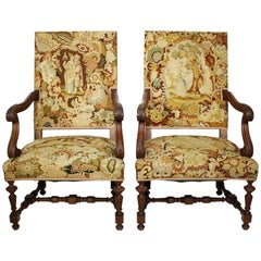 Pair of French 19th-20th Century Baroque Style Carved Thrones Armchairs