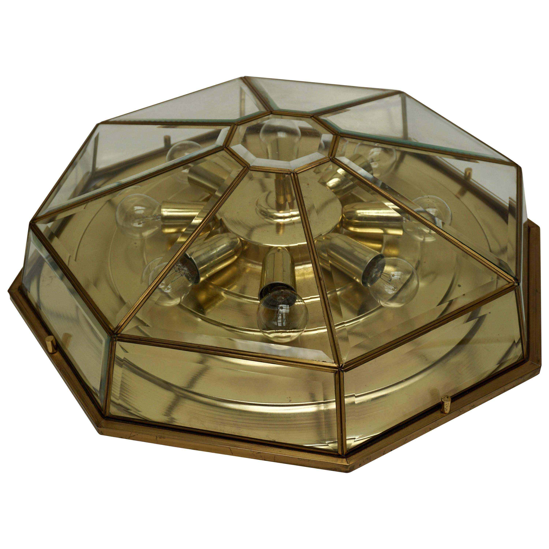 Brass and Glass Flush Mount