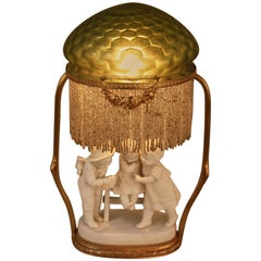 French 1920s Bisque and Art Glass Table Lamp