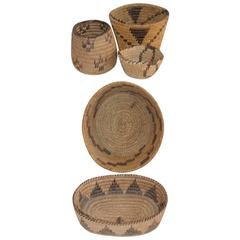 Collection of Five Pima Indian Baskets