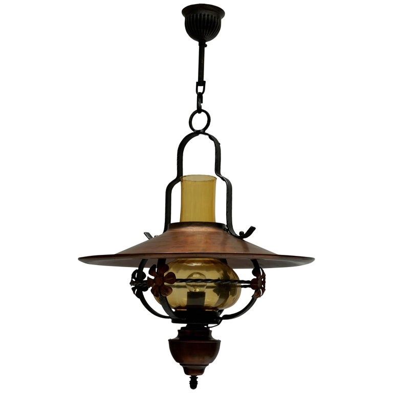 Copper and Glass Pendant Light For Sale