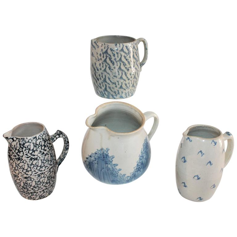 Collection of Four 19th Century Sponge Ware Pottery Pitchers