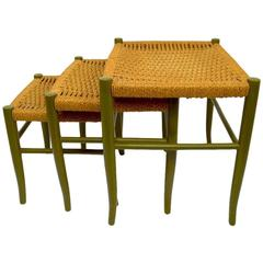 Original Three-Piece Nest of Jute and Wood Tables Made in Italy
