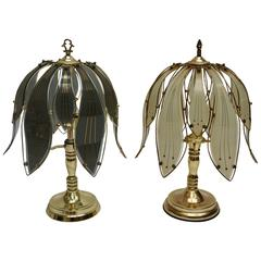 Pair of Brass and Glass Table Lamps