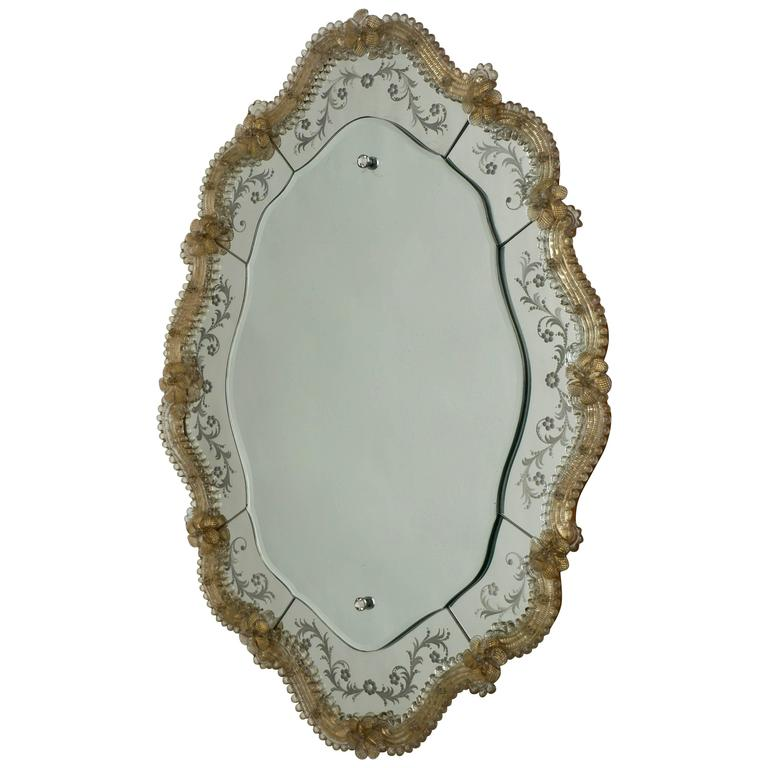 Oval Venetian Mirror For Sale