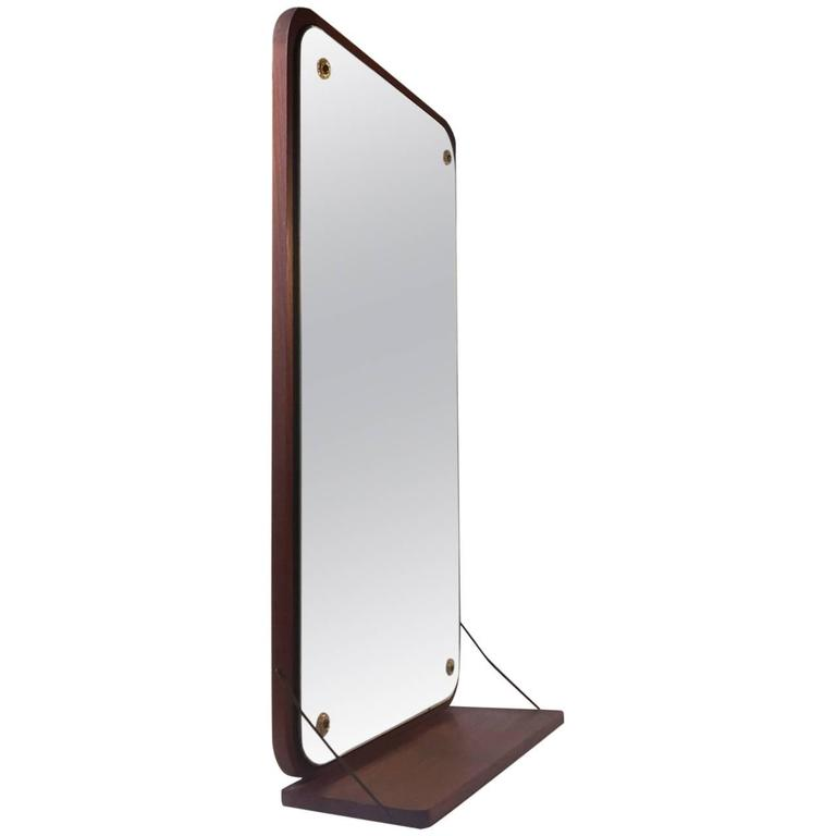 Mid-Century Danish Teak Wall Mirror with Floating Shelf, 1960s For Sale