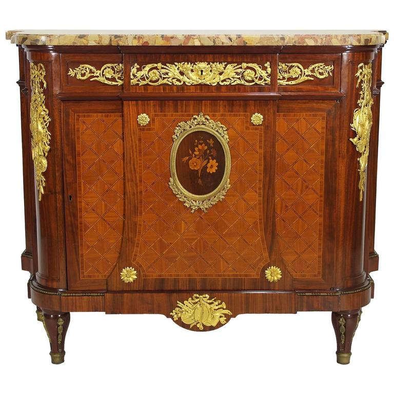 French 19th Century Louis XVI Style Ormolu-Mounted Marquetry Demilune Commode For Sale