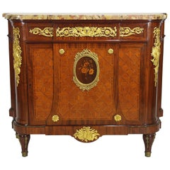 French 19th Century Louis XVI Style Ormolu-Mounted Marquetry Demilune Commode