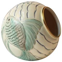 Art Deco Porcelain Ball Vase with 'Fish' Motif's by Spode's Royal Jasmine, 1930s