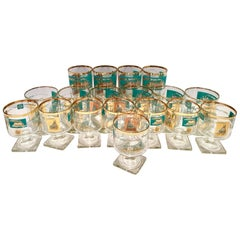 "Mid-Century 22-Karat Gold & Turquoise ""River Boat"" Glass Drinks, Set/18"