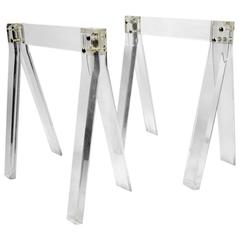 Pair of Lucite Sawhorse Table Bases