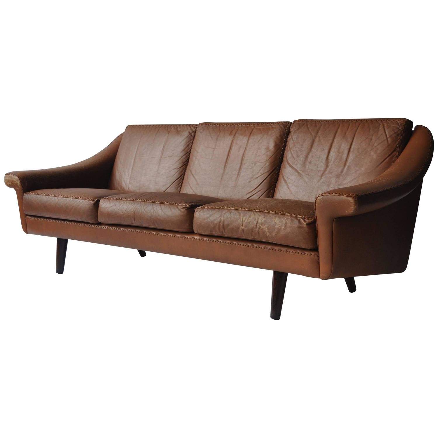 1960s Danish Leather Modular Sofa For Sale at 1stdibs