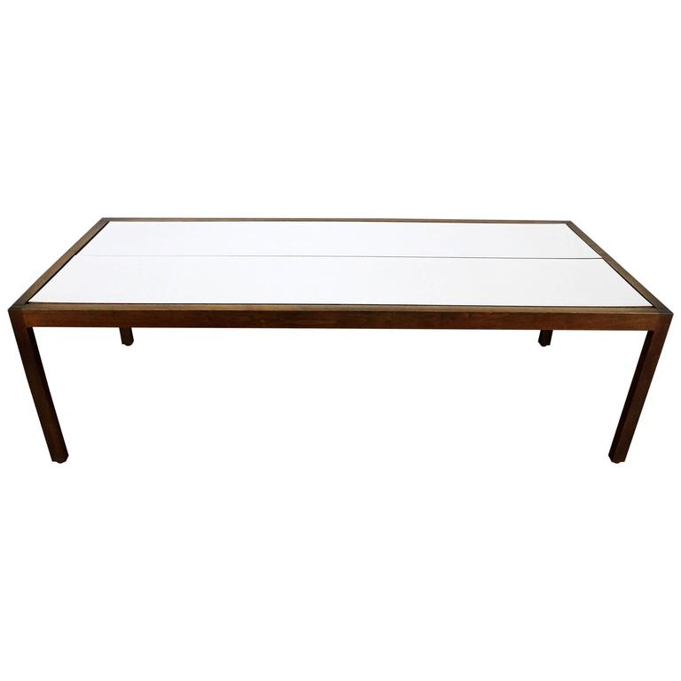 Knoll Walnut and White Laminate Lewis Butler Coffee Table, Mid-Century Modern