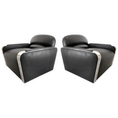 Stanley Jay Friedman for Brueton Stainless and Leather Habana Chairs, Pair