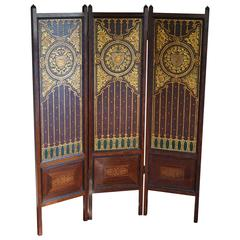 Embossed and Gilt Leather Arts and Crafts Inlaid Rosewood Folding Screen