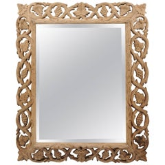 Continental Bleached Oak Mirror with Grapevine Motif, circa 1890